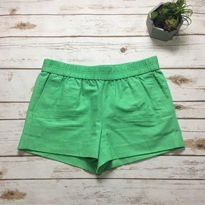 J. Crew green linen shorts